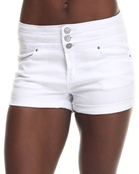 Basic Essentials - Women White Flap Pocket High Waist Short