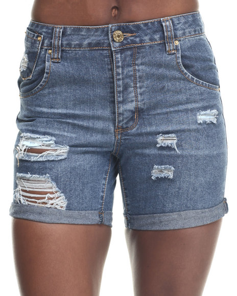 Basic Essentials - Women Medium Wash Drop Crotch Destructed X-Boyfriend Short