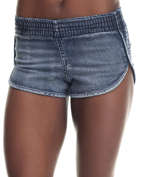 Basic Essentials - Women Medium Wash Elastic Waist Dolphin Short