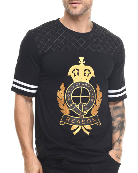 Buyers Picks - Men Black World Class Crest Quilted S/S Tee