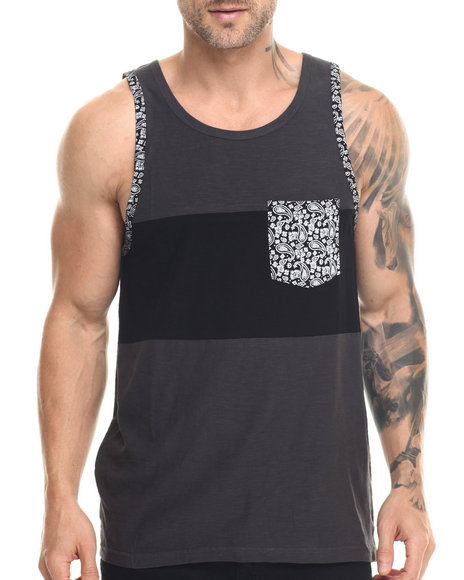Ur-ID 217818 Buyers Picks - Men Grey Cut & Sewn Contrast Pocket Tank Top
