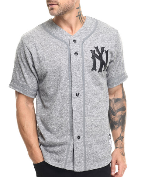 Ur-ID 217828 Buyers Picks - Men Grey French Terry Baseball Shirt