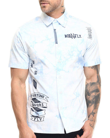 Ur-ID 217841 Born Fly - Men Light Blue,White Blaney S/S Button-Down