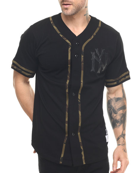 Ur-ID 217856 Buyers Picks - Men Black Ny Black/Camo Baseball Shirt