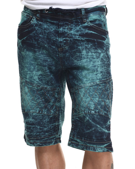 Ur-ID 217827 Basic Essentials - Men Turquoise Acid Washed Denim Shorts