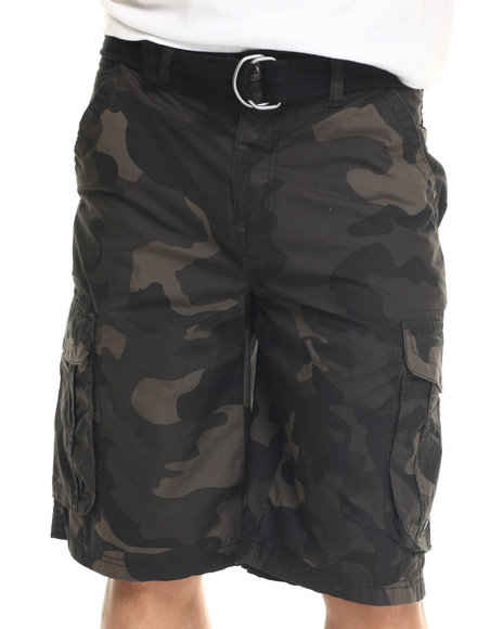 Buyers Picks - Men Black,Camo Battalion Belted Cargo Short