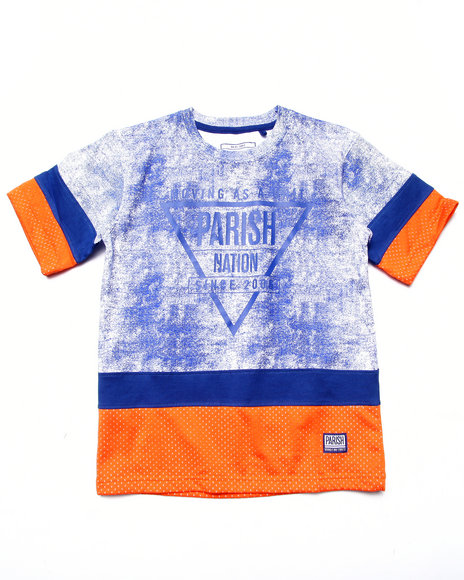 Parish - Boys Blue Cut & Sew Mesh Tee (8-20) - $18.99