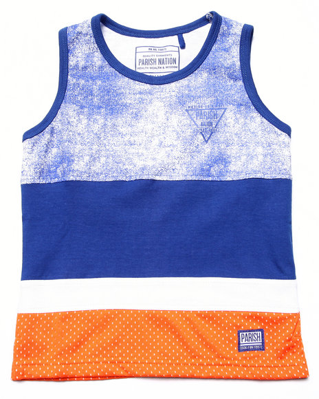 Parish - Boys Blue Cut & Sew Mesh Tank (4-7) - $5.99