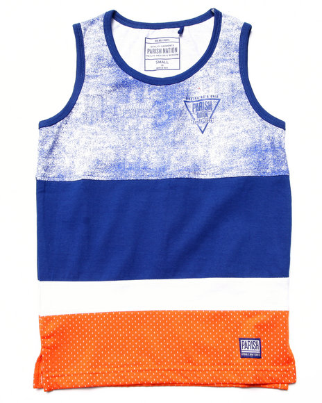 Parish - Boys Blue Cut & Sew Mesh Tank (8-20) - $7.99