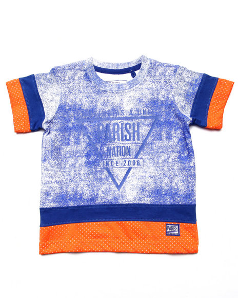 Parish - Boys Blue Cut & Sew Mesh Tee (2T-4T) - $10.99