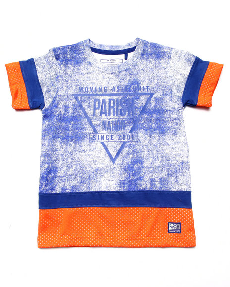 Parish - Boys Blue Cut & Sew Mesh Tee (4-7) - $13.99