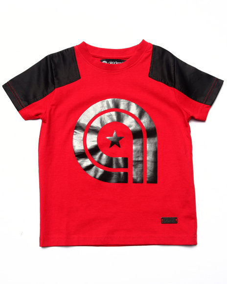 Akademiks - Boys Red Nylon Yoke Tee (4-7) - $8.99