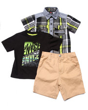 Boys - 3 PC PLAID WOVEN, TEE, & SHORTS SET (2T-4T)