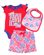Sets - 3 PC AMERICANA BODYSUIT, SHORTS, & BIB (NEWBORN)