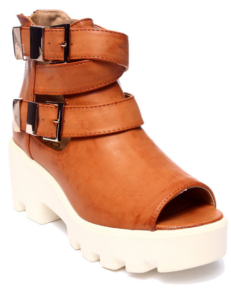 Ur-ID 217884 Fashion Lab - Women Tan Beth Wedge Peep Toe Bootie