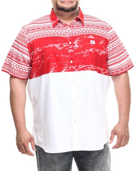 Ur-ID 217887 Parish - Men Red Ethnic Print S/S Button-Down (B&T)