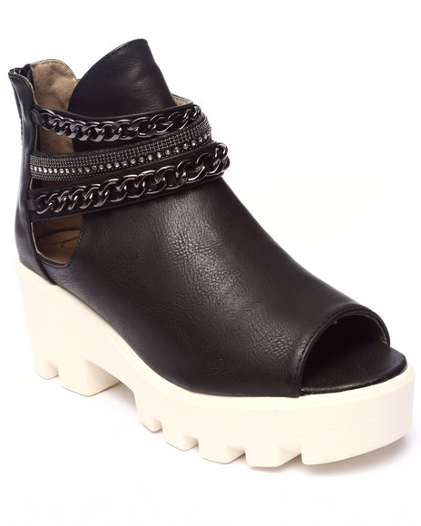 Fashion Lab - Women Black Maxine Peep Toe Bootie W/Chain Detail