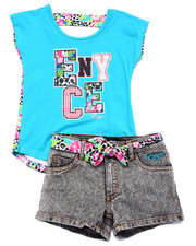 Sizes 7-16 - Big Kids - 2 PC FLORAL SHORT SET (7-16)