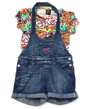 Sizes 7-16 - Big Kids - 2 PC GRAFFITI OVERALL SET (7-16)