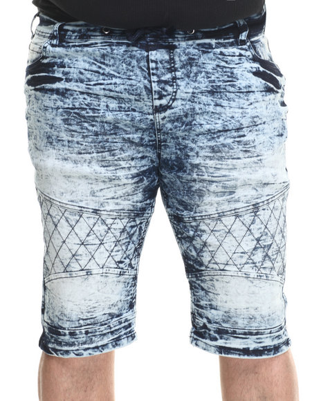 Basic Essentials - Men Medium Wash Acid Washed Denim Shorts (B&T)