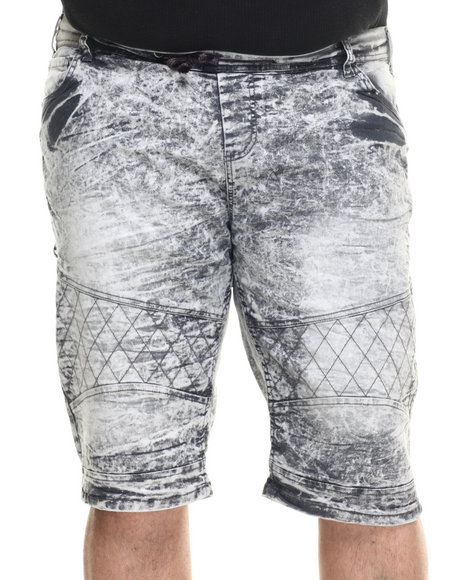 Basic Essentials - Men Grey Acid Washed Denim Shorts (B&T)