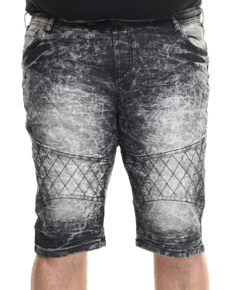 Basic Essentials - Men Black Acid Washed Denim Shorts (B&T)