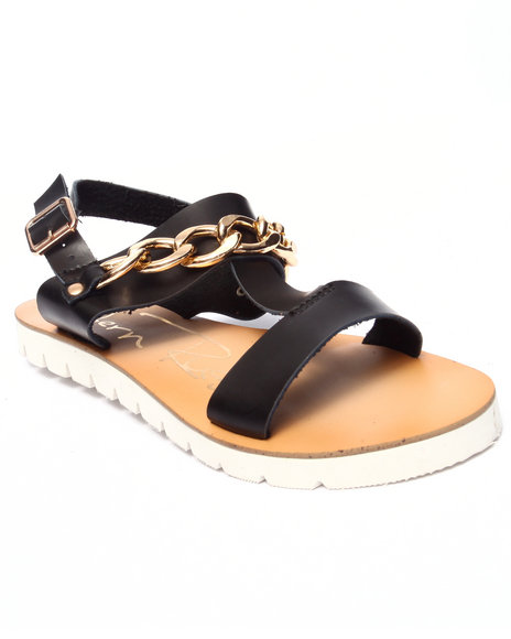 Fashion Lab - Women Black Olga Sandal W/Chain Detail