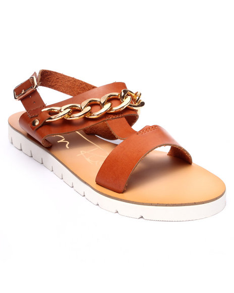 Fashion Lab - Women Tan Olga Sandal W/Chain Detail
