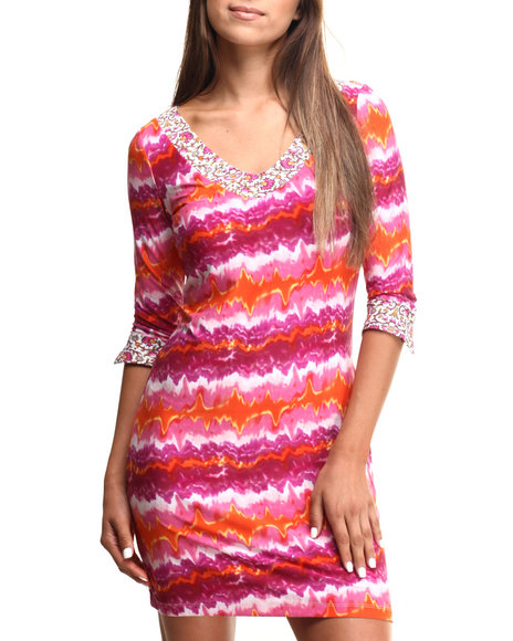Ur-ID 217439 Vertigo - Women Multi,Pink Sunburst Print Vneck Sheath Dress