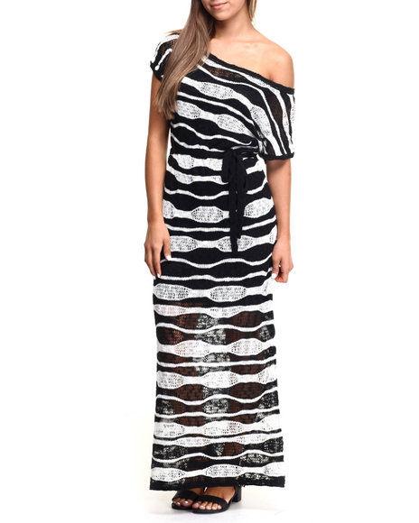 Vertigo - Women Off White,Black Wavy Stripe Crochet Knit Maxi