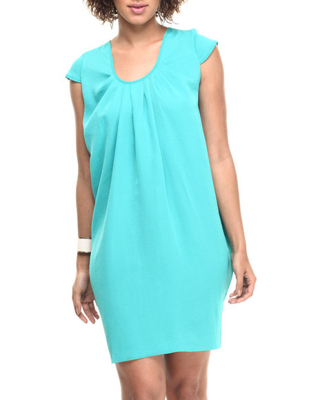 Vertigo - Women Green Cap Sleeve Draped Sides Scoop Neck Dress