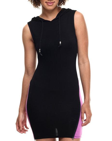 Ur-ID 217957 Lady Enyce - Women Black,Purple Zip Panel Hooded Dress