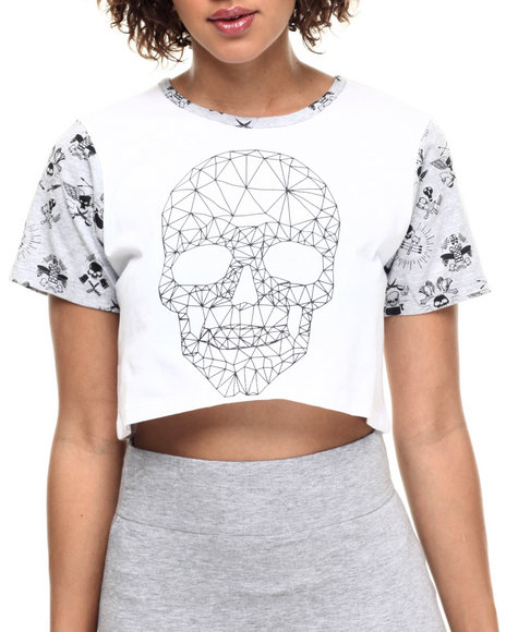 Ur-ID 217966 Lady Enyce - Women White Revolution Skull Cropped Tee
