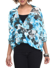 Long-Sleeve - Watercolor Print Cross Over Chiffon Top