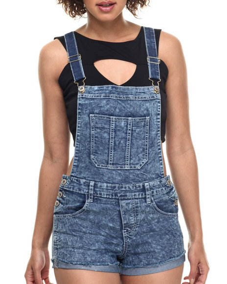 Basic Essentials - Women Dark Wash Short-Alls
