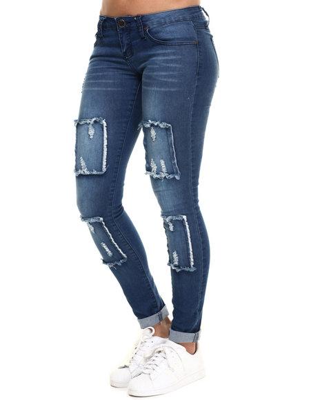 Ur-ID 217938 Basic Essentials - Women Dark Blue Skinny Jean W/Box Detail