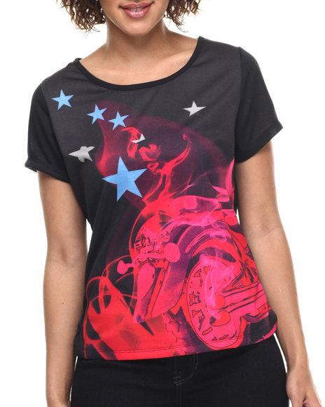 Ur-ID 217971 Lady Enyce - Women Black Moto Tee
