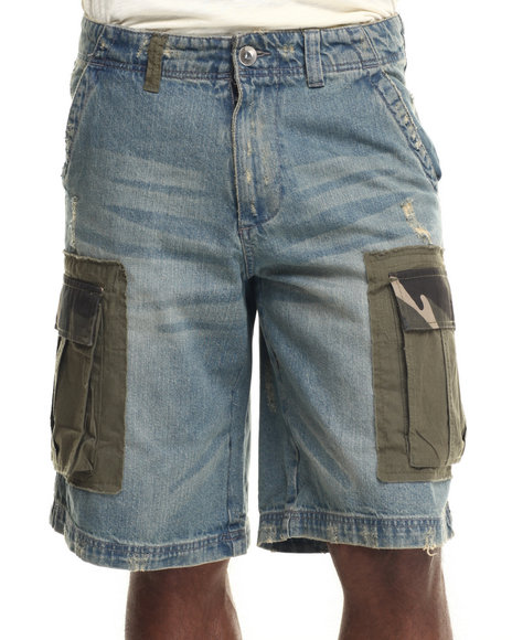 Aknowledge - Men Vintage Wash Range One Denim Cargo Shorts