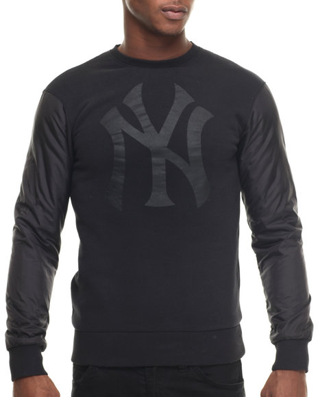Ur-ID 217984 Wright & Ditson - Men Black New York Yankees All Black Premium Crewneck Sweatshirt