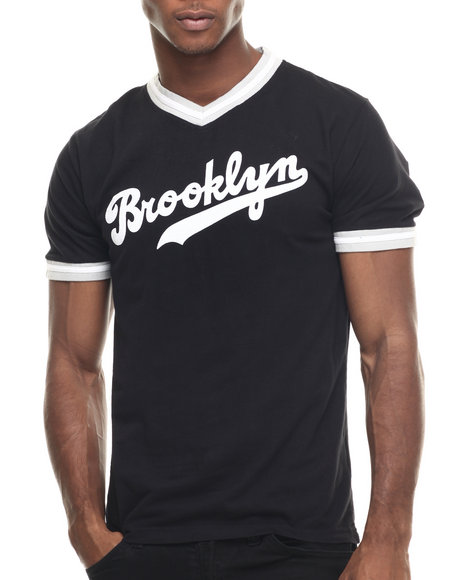 Ur-ID 217999 Wright & Ditson - Men Black Brooklyn Dodgers Eephus V-Neck Premium S/S Tee