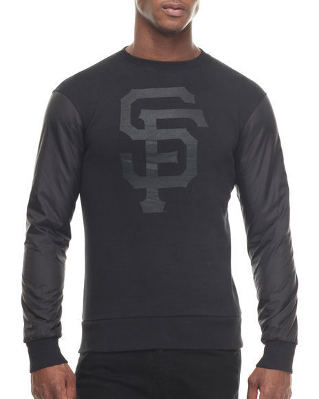 Ur-ID 218018 Wright & Ditson - Men Black San Francisco Giants All Black Premium Crewneck Sweatshirt
