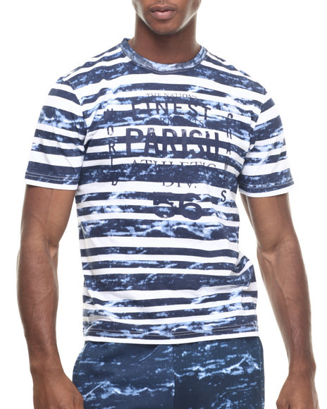 Ur-ID 217990 Parish - Men Navy Printed Stripe T-Shirt