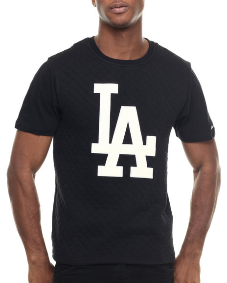 Ur-ID 218012 Wright & Ditson - Men Black Los Angeles Dodgers Pinnacle Premium Quilted S/S Tee