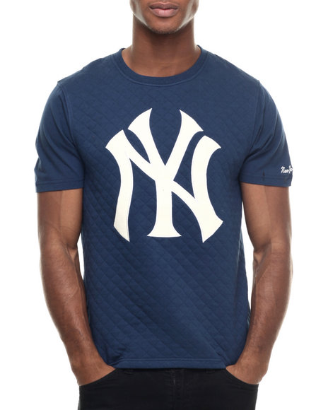 Ur-ID 218013 Wright & Ditson - Men Navy New York Yankees Pinnacle Premium Quilted S/S Tee