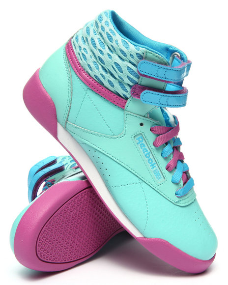 Reebok - Girls Light Blue Freestyle High Sneakers (3.5-7)