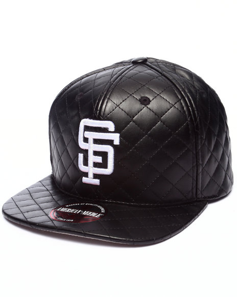 Ur-ID 223207 American Needle - Men Black San Francisco Giants Faux Quilted Leather Strapback Hat