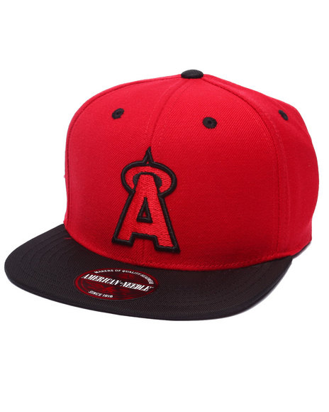 Ur-ID 223219 American Needle - Men Red Anaheim Angels Three Timer Strapback Hat