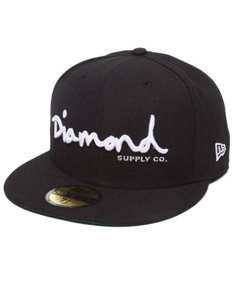 Ur-ID 218023 Diamond Supply Co - Men Black Diamond Supply Co Og Script New Era Fitted Cap