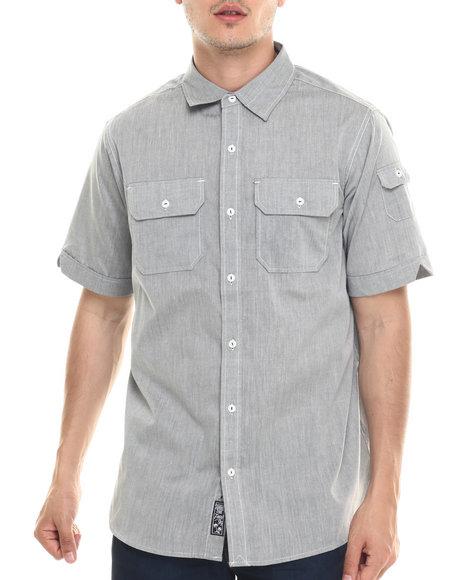 Ur-ID 218054 Rocawear - Men Grey Slub Poplin S/S Button-Down