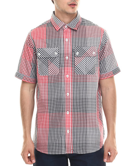 Rocawear - Men Red,Black Cashing Checks S/S Button-Down